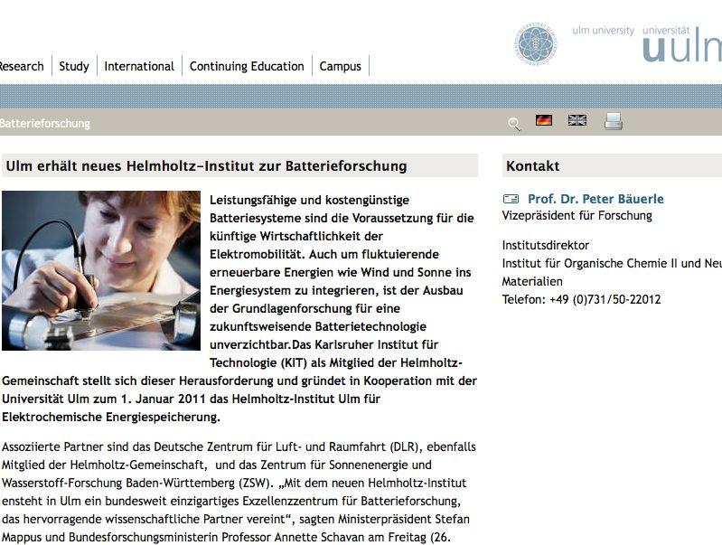 Batterieforschung Neues Helmholtz Institut In Ulm