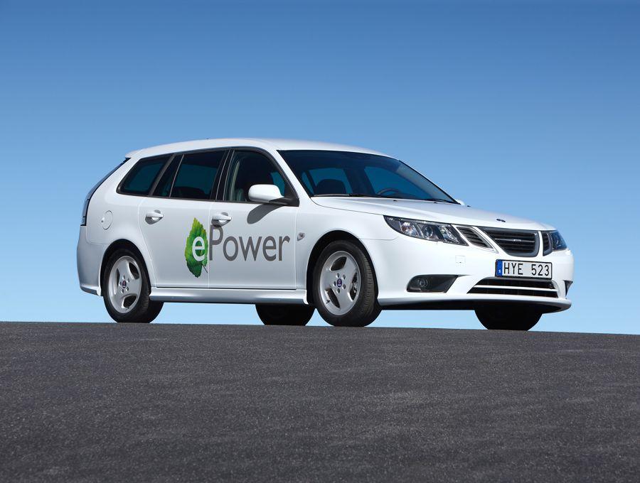 Elektroauto Saab 9 3 Epower Auf Dem Pariser Autosalon
