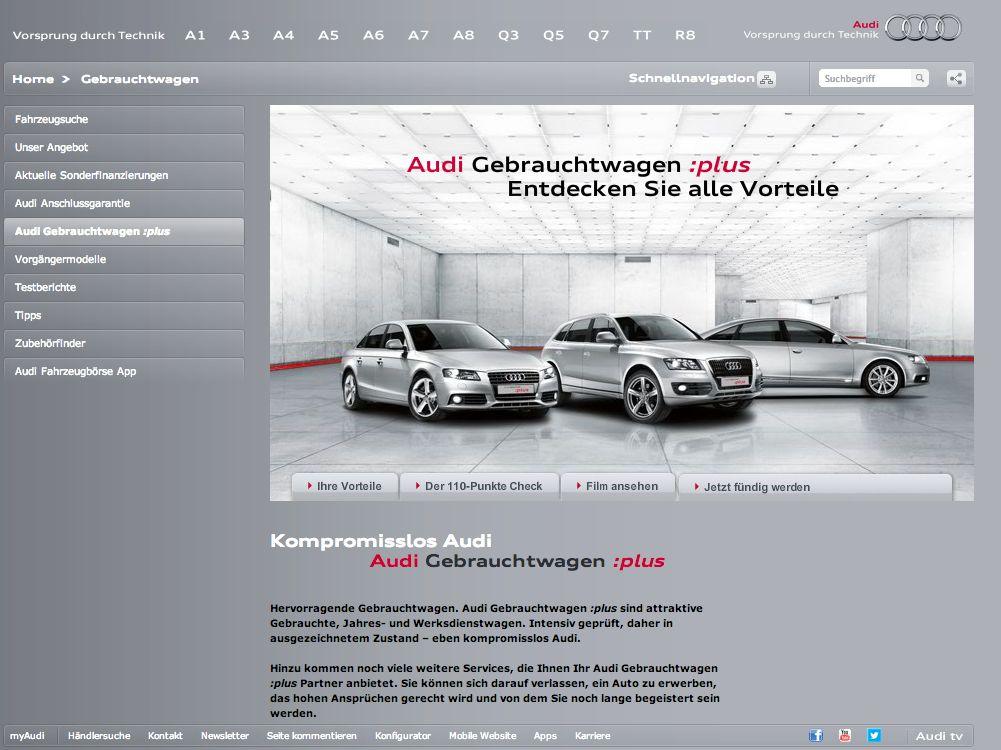 Audi Gebrauchtwagen und Gebrauchtwagen APP