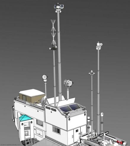 Das High-Tech Mast-System des KiraVans mit vielen Richtmikrophonen, Kameras, Objektiven und Kommunikationsgeräten.