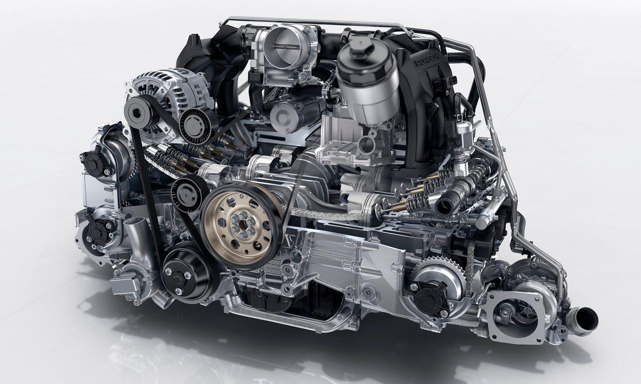 Der neue 3,0-Liter-BiTurbo Motor des neuen 911 Carrera und Carrera S