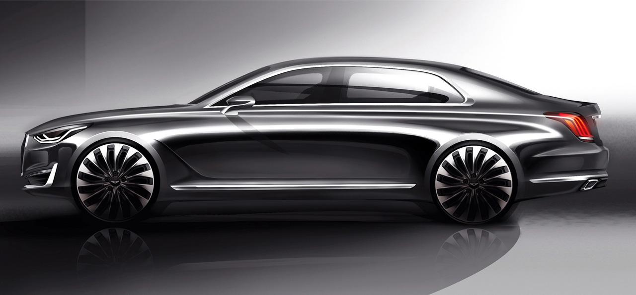 Man sieht ohne Zweifel, wo Hyundai mit dem Genesis G90 Luxus-Liner design-technisch hin will: Zur S-Klasse und dem Audi A8