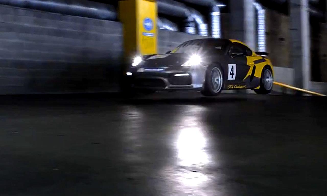 Porsche Cayman GT4 Clubsport im Parkhaus