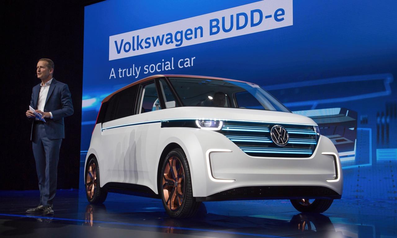 Der VW BUDD-e bei der Premiere auf der CES in Las Vegas 2016