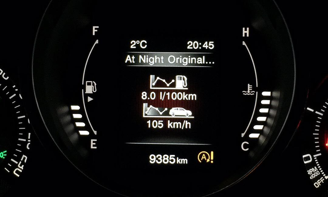 Durchschnittsverbrauch des Fiat 500X 2,0 Liter MJet nach 250 Kilometern Autobahn