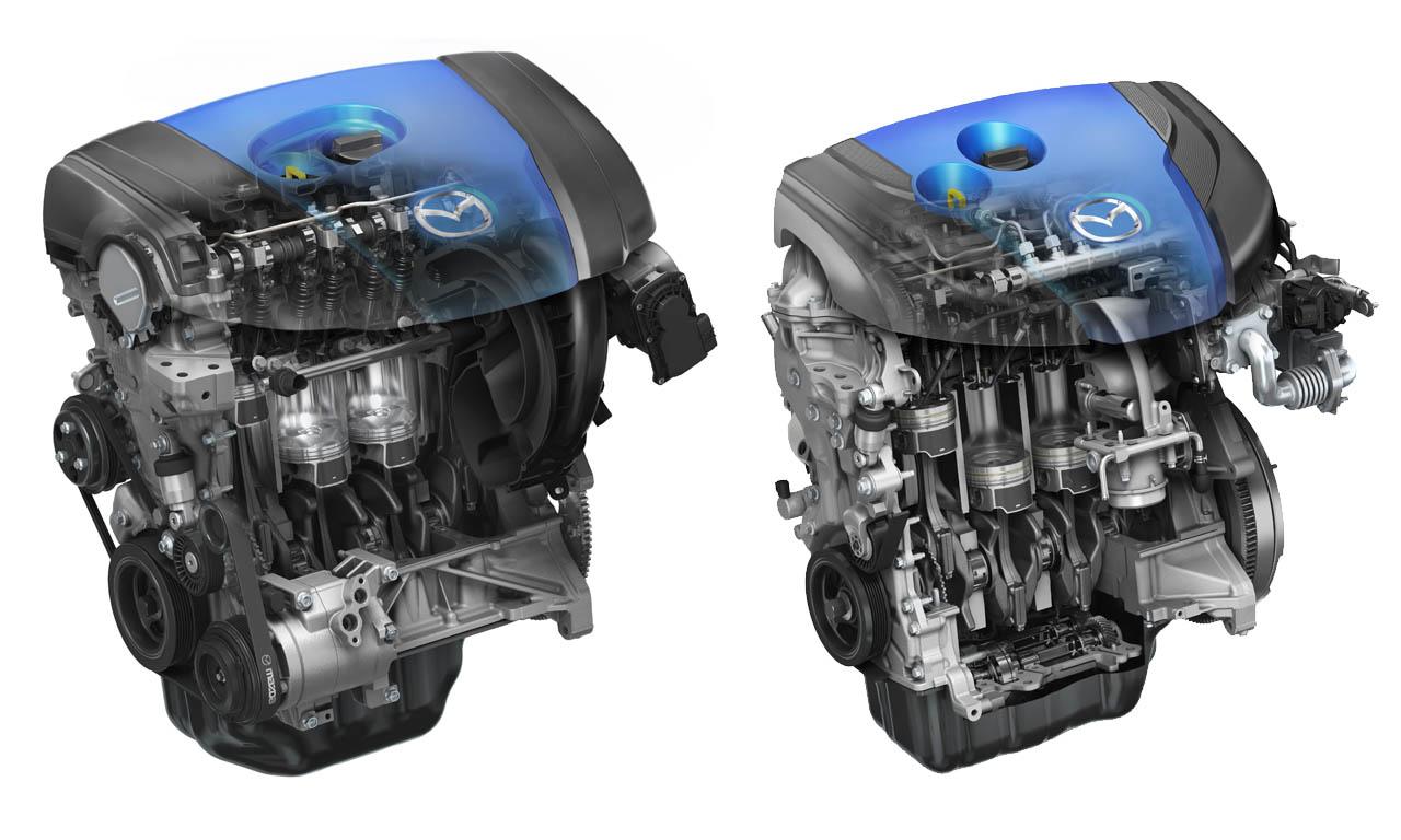Mazda Skyactiv G (links) und Skyactiv D