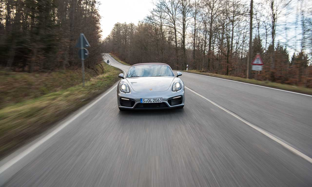 Der Porsche Boxster GTS schaut manchmal aus, wie ein kleiner Carrera GT - bildschön einfach