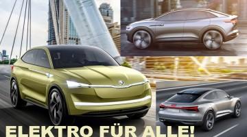 Skoda Vision E, VW I.D. Crozz und Audi e-tron Sportback sind das neue MEB-Dreigespann!