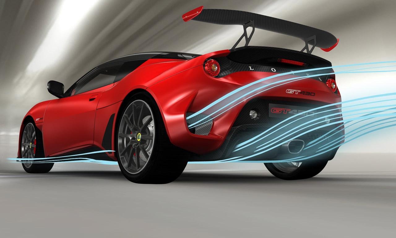 Die Aerodynamik des Lotus Evora GT430 wurde gegenüber seinem Basismodell deutlich verschärft.