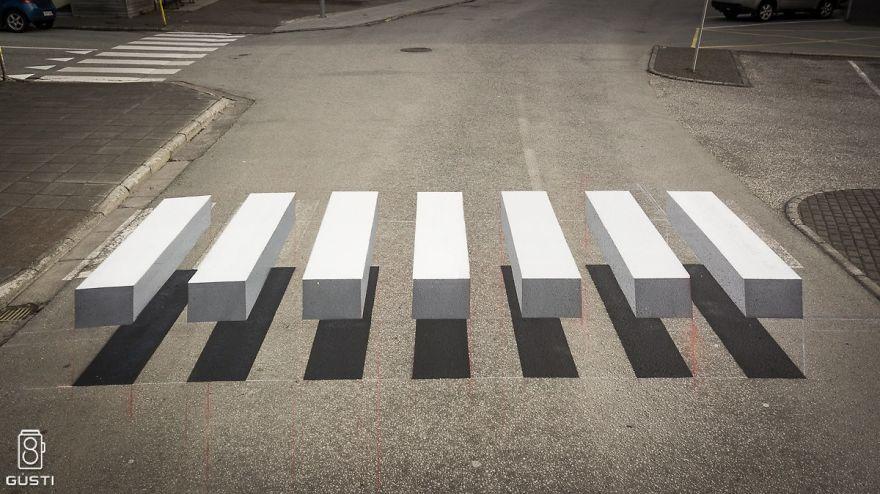 3D pedestrian crossing island 2 59f03455342f2  880 - 3D-Zebrastreifen gegen Raser in Städten - eine Alternative?