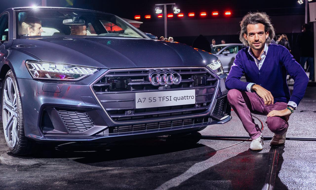 Extrovertiert, aber futuristisch. Der Kühlergrill dürfte auch etwas weniger massiv sein, aber die schmalen Scheinwerfer sowie die seitlichen Lufteinlässe geben dem Audi A7 ein dynamisches Gesicht. Nur die Lasersensoren stören sehr.