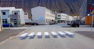 Zebrastreifen dreidimensional auf Island