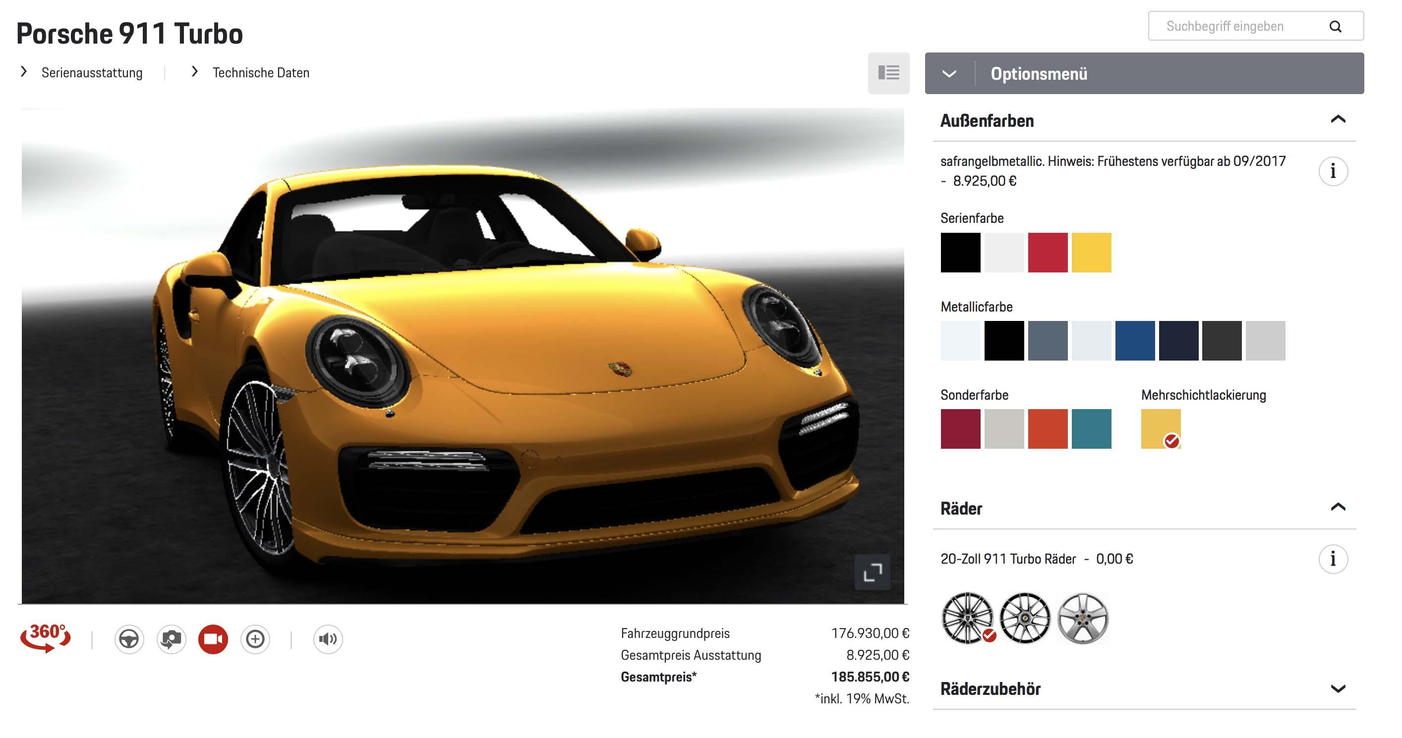 911 Turbo im Car Configurator in Saffran Gelb Metallic - Diese gelbe Lackierung gibt es für 9.000 Euro für Porsche 911 Turbo Modelle
