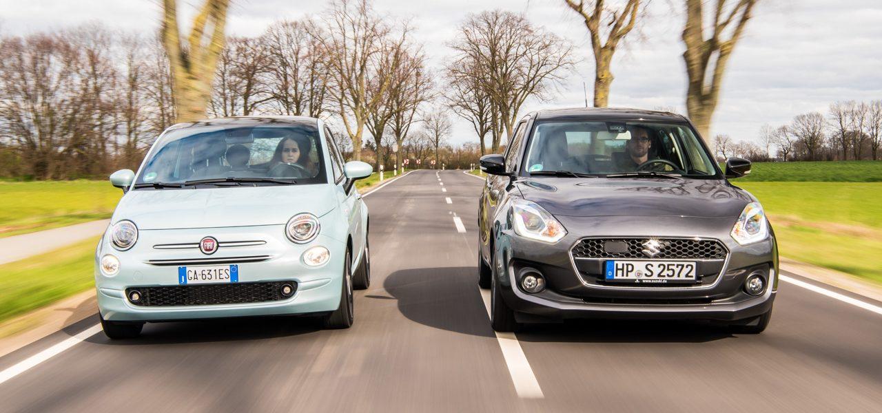 Suzuki Swift Hybrid und Fiat 500 Hybrid Mild Hybride im Test AUTOmativ.de Benjamin Brodbeck TITELBILD 1 1280x600 - Mild-Hybride im Vergleich: Fiat 500 Hybrid vs. Suzuki Swift Hybrid